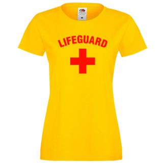 LADIES LIFEGUARD +  FITTED YELLOW T-SHIRT